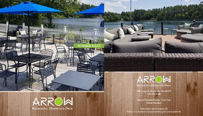 Arrow Restaurant summer menu deck view