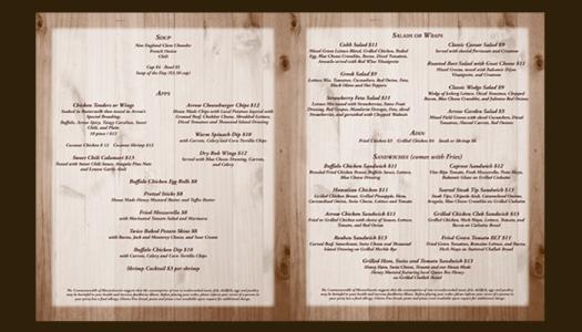 Arrow Restaurant take-out menu