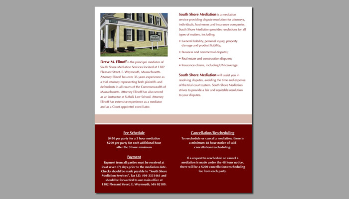 South Shore Mediation Services side two brochure