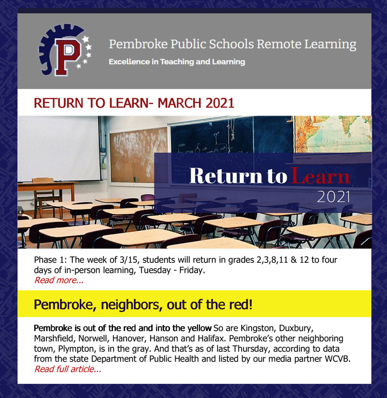 Return-to-Learning in Pembroke Schools